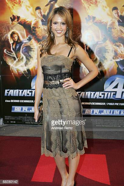 "Actress Jessica Alba arrives at the film premiere ""The Fantastic Four"" at the Elbberg on July 12, 2005 in Hamburg, Germany."