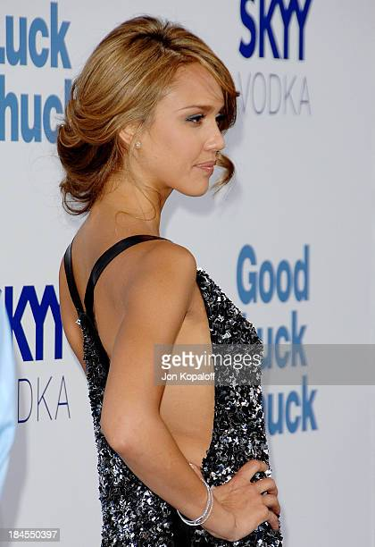 Actress Jessica Alba arrives at the Los Angeles Premiere Good Luck Chuck at the Mann National Theater on September 19 2007 in Westwood California