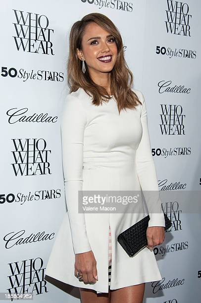 Actress Jessica Alba arrives at the Who What Wear And Cadillac's 50 Most Fashionable Women Of 2013 Event at The London Hotel on October 24 2013 in...