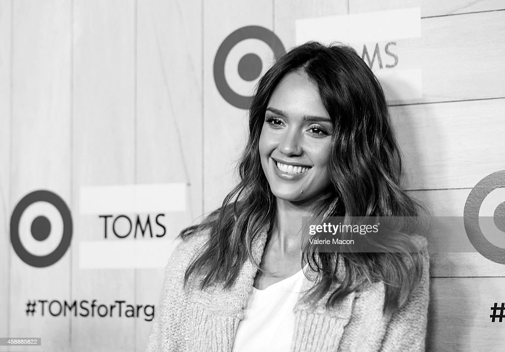 Actress Jessica Alba arrives at TOMS For Target Launch Event at The Bookbindery on November 12, 2014 in Culver City, California.