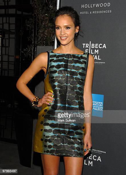 Actress Jessica Alba arrives at Tribeca Film Festival program and launch party at W Hollywood on March 23, 2010 in Hollywood, California.