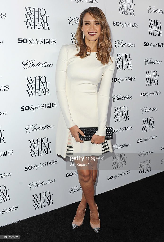 Actress Jessica Alba arrives at Who What Wear And Cadillac's 50 Most Fashionable Women Of 2013 at The London Hotel on October 24, 2013 in West Hollywood, California.