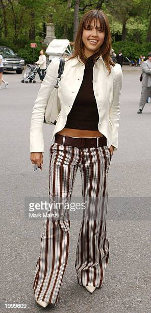 Actress Jessica Alba arrives for the 'CBS Upfront Previews 20032004' May 14 2003 at Tavern on the Green in New York City