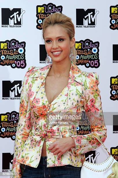 Actress Jessica Alba arrives for the MTV Video Music Awards Japan 2005 on May 29 2005 in Urayasu Chiba Prefecture Japan