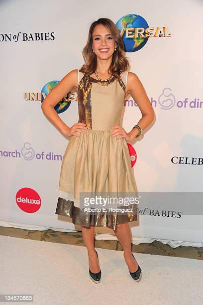 Actress Jessica Alba arrives to the March of Dimes' 6th Annual Celebration of Babies Luncheon at The Beverly Hills Hotel on December 2 2011 in...