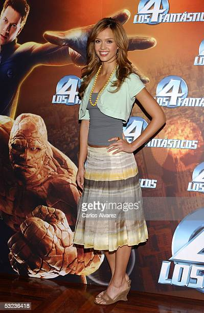 "Actress Jessica Alba attends a photocall to promote the new film ""Fantastic Four"" at Hotel Palace on July 14, 2005 in Madrid, Spain."