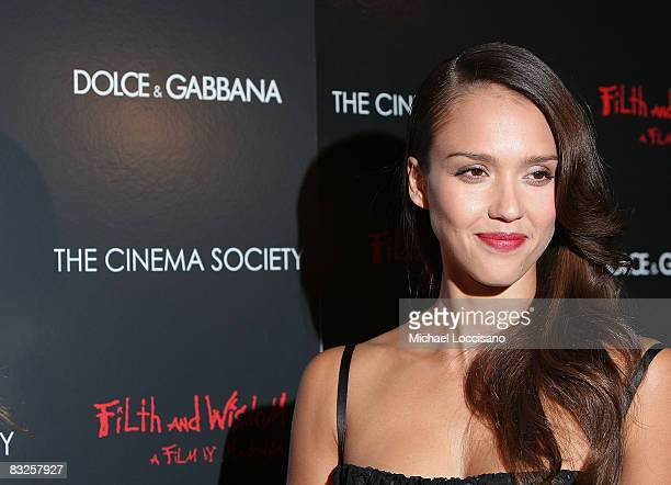 Actress Jessica Alba attends a screening of Filth and Wisdom hosted by The Cinema Society and Dolce and Gabbana at the IFC Center on October 13 2008...