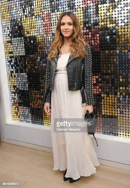 Actress Jessica Alba attends Rebecca Minkoff and Jessica Alba Photo Call during New York Fashion Week at Rebecca Minkoff on September 9 2017 in New...