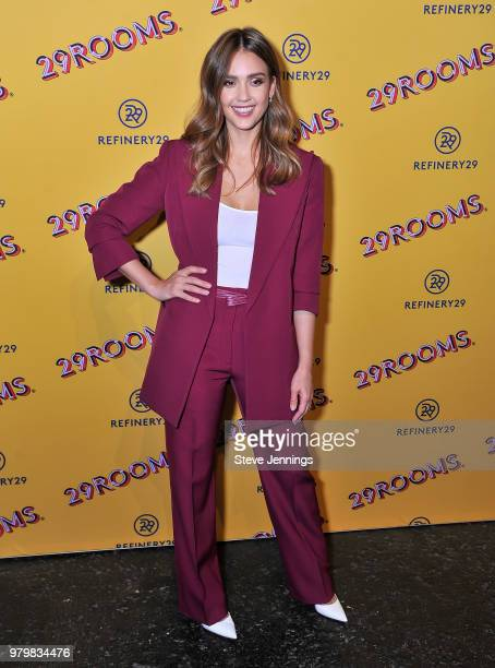Model Anne Vyalitsyna Refinery29 CoFounder Piera Gelardi and Actress Jessica Alba attend 'Refinery29's 29Rooms Turn It Into Art' on June 20 2018 in...