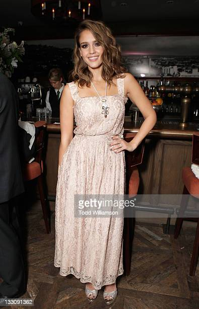 Actress Jessica Alba attends SWAROVSKI ELEMENTS private holiday dinner hosted by Jessica Alba held at Soho House on November 16 2011 in West...