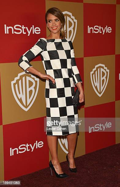 Actress Jessica Alba attends the 2013 InStyle and Warner Bros 70th Annual Golden Globe Awards PostParty held at the Oasis Courtyard in The Beverly...