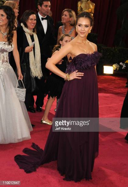 Actress Jessica Alba attends the 80th Annual Academy Awards at the Kodak Theatre on February 24 2008 in Los Angeles California