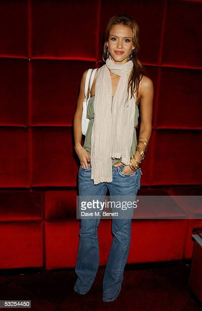 Actress Jessica Alba attends the after show party following the UK Premiere of 'Fantastic Four' at CC Club in Leicester Square on July 18 2005 in...