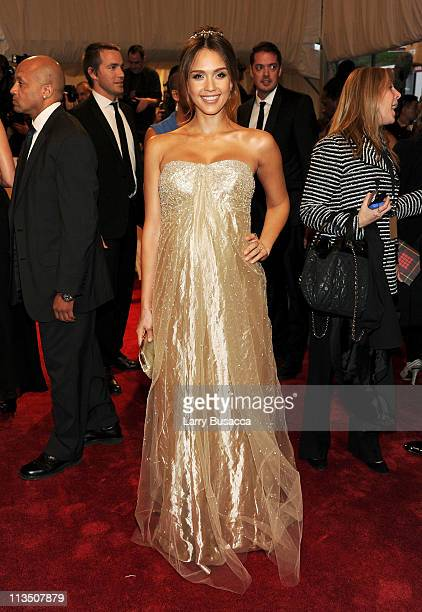 """Actress Jessica Alba attends the """"Alexander McQueen: Savage Beauty"""" Costume Institute Gala at The Metropolitan Museum of Art on May 2, 2011 in New..."""
