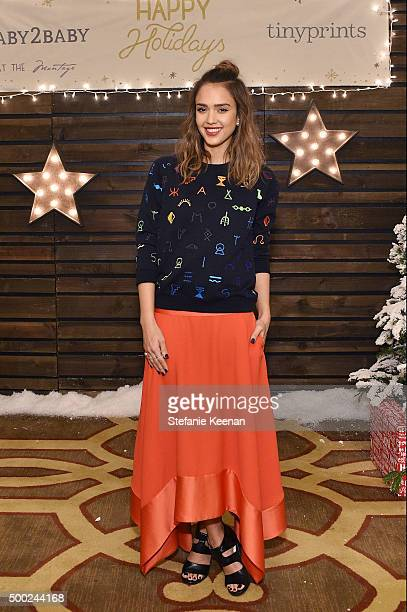 Actress Jessica Alba attends the Baby2Baby Holiday Party Presented By Tiny Prints At Montage Beverly Hills on December 6 2015 in Beverly Hills...