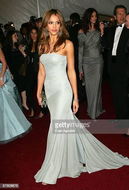 Actress Jessica Alba attends the Metropolitan Museum of Art Costume Institute Benefit Gala Anglomania at the Metropolitan Museum of Art May 1 2006 in...