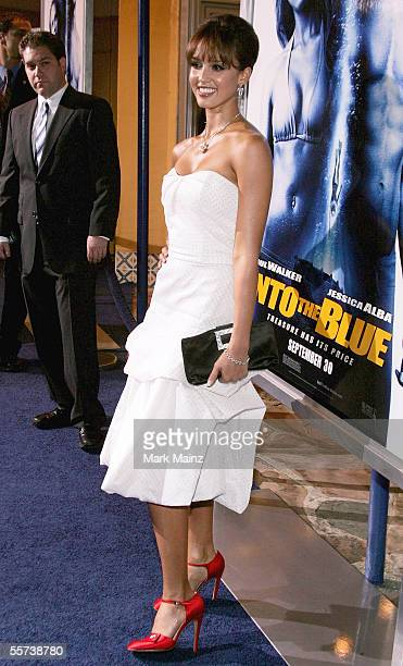 Actress Jessica Alba attends the premiere of Sony Pictures Into the Blue at the Mann Village Theatre on September 21 2005 in Westwood California