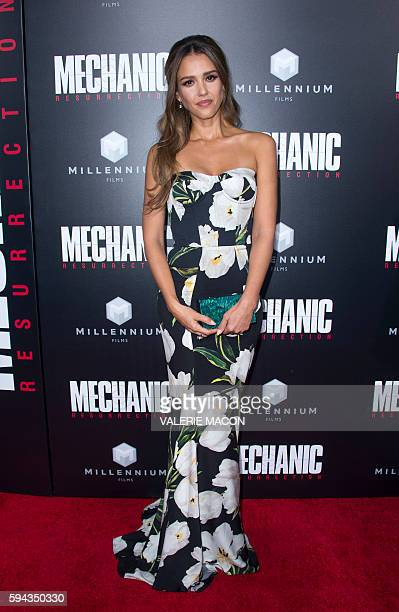 Actress Jessica Alba attends the premiere of 'The Mechanic Resurrection' in Hollywood California on August 22 2016 / AFP / VALERIE MACON