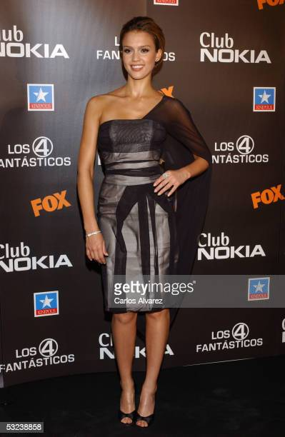 Actress Jessica Alba attends the premiere of the new film 'Fantastic Four' at Kinepolis Cinema on July 14 2005 in Madrid Spain
