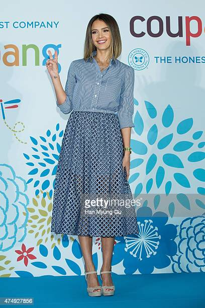 Actress Jessica Alba attends the press conference for Ecommerce company 'COUPANG' at the Grand Intercontinental Hotel on May 28 2015 in Seoul South...