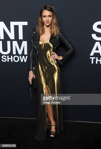 Actress Jessica Alba attends the Saint Laurent show at The Hollywood Palladium on February 10 2016 in Los Angeles California