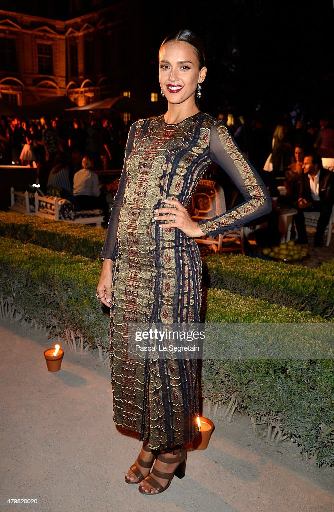 Actress Jessica Alba attends the Tory Burch Paris Flagship store opening after party at on July 7, 2015 in Paris, France.