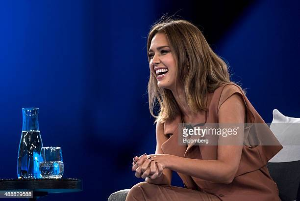 Actress Jessica Alba cofounder of The Honest Co speaks during the DreamForce Conference in San Francisco California US on Thursday Sept 17 2015...