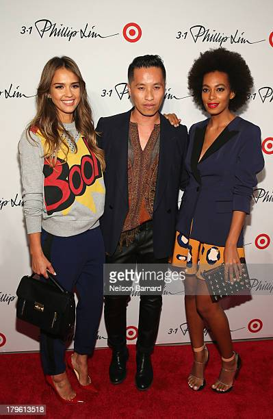 Actress Jessica Alba, designer Phillip Lim and Singer Solange Knowles attend 3.1 Phillip Lim for Target launch event on September 5, 2013 in New York...