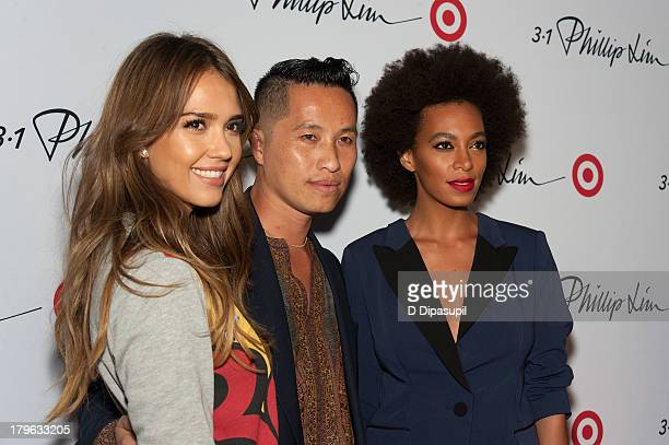 Actress Jessica Alba, designer Phillip Lim, and Solange attend the 3.1 Phillip Lim for Target Launch Event at Spring Studio on September 5, 2013 in...