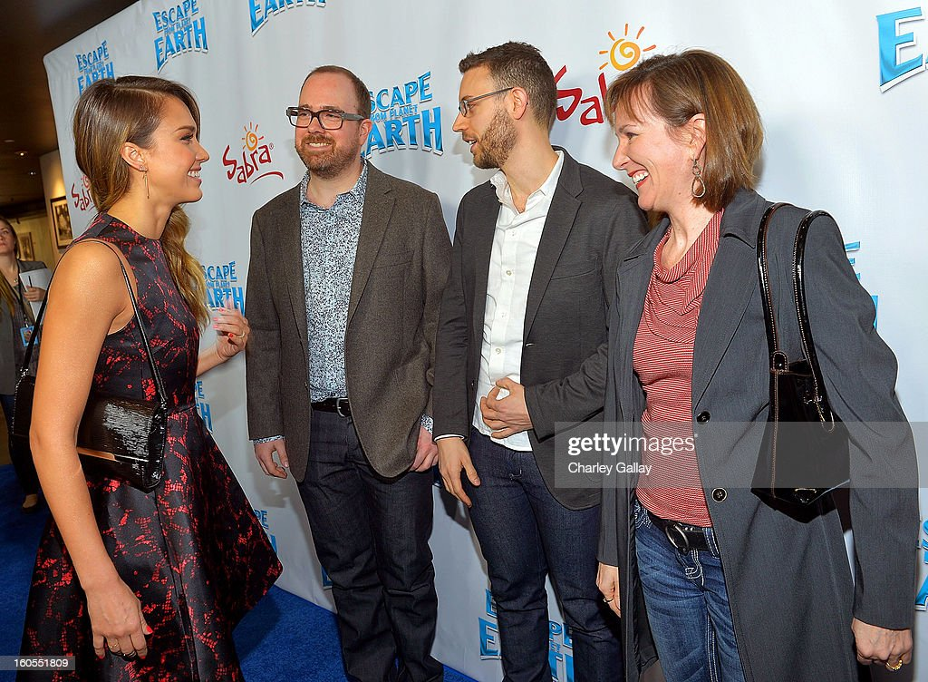 Actress Jessica Alba, director Cal Brunker, Co-Writer Bob Barlen and Producer Catherine Winder attend the 'Escape From Planet Earth' premiere presented by The Weinstein Company in partnership with Sabra at Mann Chinese 6 on February 2, 2013 in Los Angeles, California.