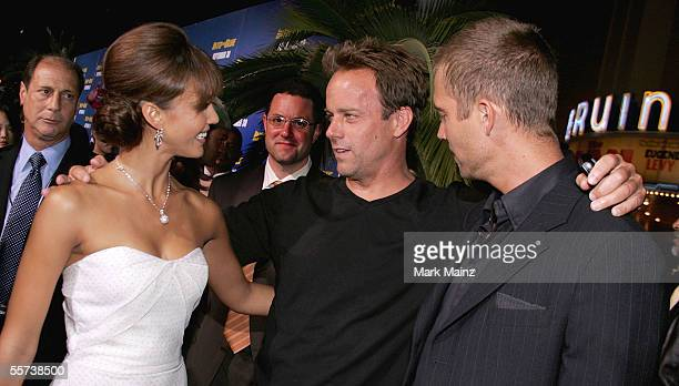 Actress Jessica Alba director John Stockwell and actor Paul Walker attend the premiere of Sony Pictures Into the Blue at the Mann Village Theatre on...