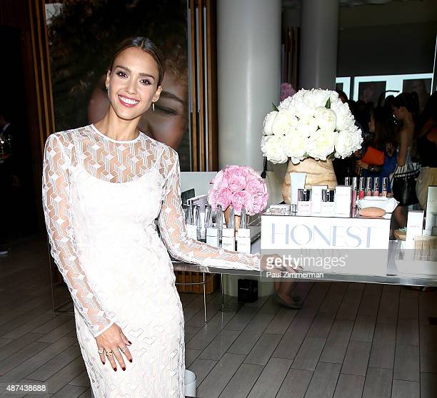 Actress Jessica Alba Founder and Chief Creative Officer of The Honest Company attends the Honest Beauty Launch at Trump SoHo on September 9 2015 in...