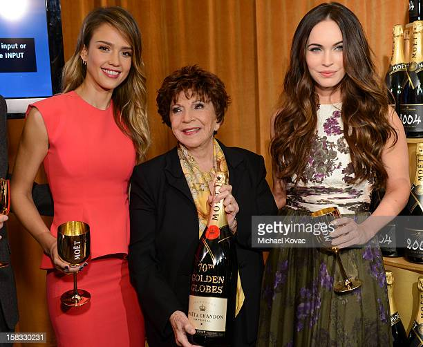 Actress Jessica Alba Hollywood Foreign Press Association President Dr Aida TaklaO'Reilly and actress Megan Fox toast the 70th Annual Golden Globe...