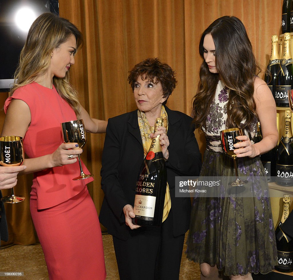 Actress Jessica Alba, Hollywood Foreign Press Association (HFPA) President Dr. Aida Takla-O'Reilly, and actress Megan Fox toast the 70th Annual Golden Globe Nominations with Moet & Chandon at the The Beverly Hilton on December 13, 2012 in Los Angeles, California.