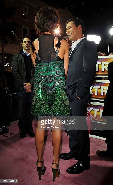 Actress Jessica Alba is interviewed by Mario Lopez arrive at the Valentine's Day Los Angeles Premiere at Grauman's Chinese Theatre on February 8 2010...