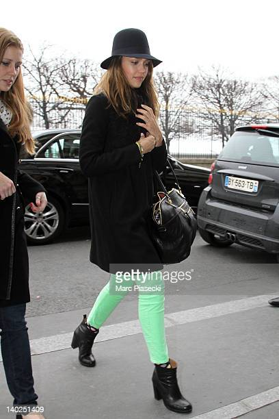Actress Jessica Alba is seen arriving at her hotel on March 1 2012 in Paris France
