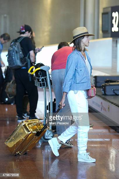 Actress Jessica Alba is seen at CharlesdeGaulle airport on July 6 2015 in Paris France