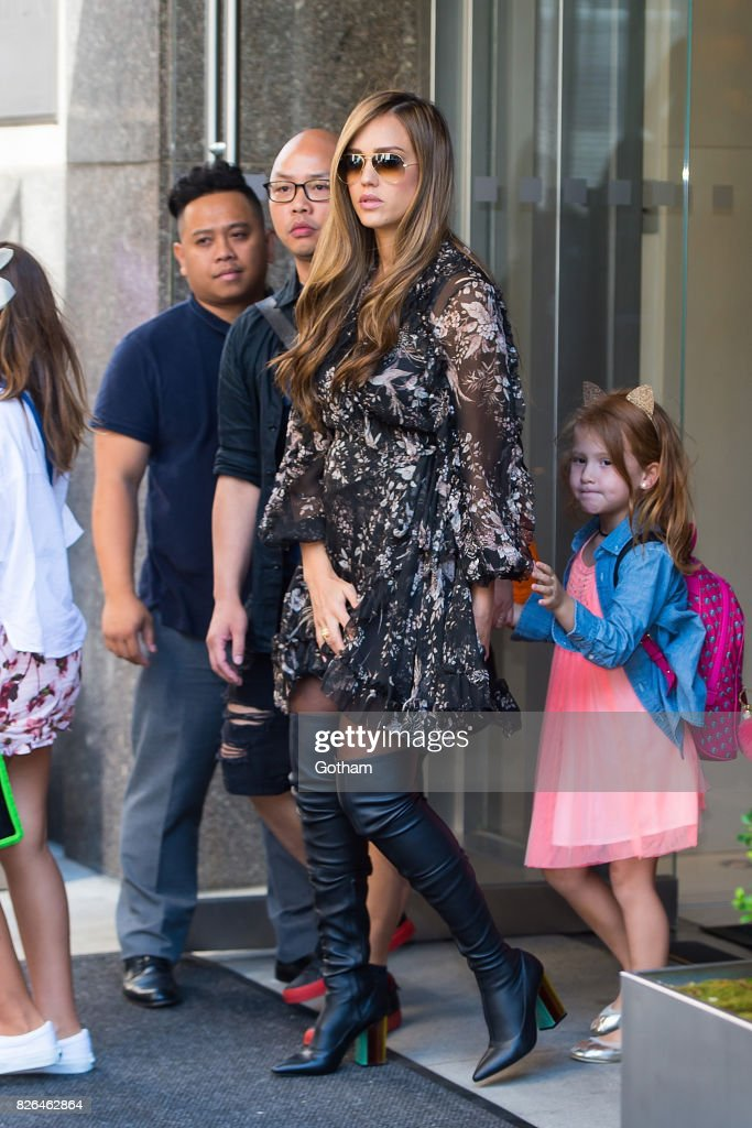 Actress Jessica Alba is seen in the Flatiron District on August 4, 2017 in New York City.
