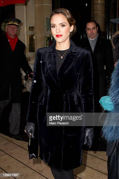 Actress Jessica Alba is seen leaving the 'Plaza Athenee' hotel on January 21 2013 in Paris France