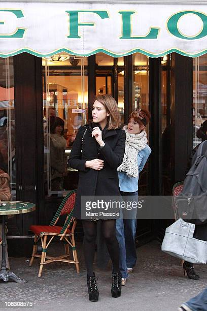 Actress Jessica Alba leaves the 'Cafe de Flore' in Saint Germain des Pres on January 25 2011 in Paris France