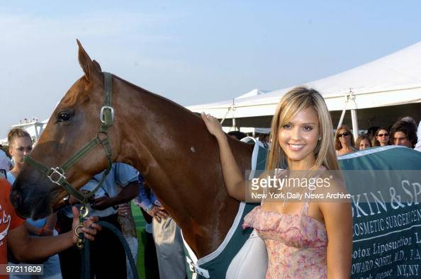 Actress Jessica Alba Makes Friends With A Polo Pony As She