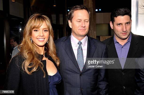 Actress Jessica Alba Michael Burns and Nick Myer of LionsGate attend the premiere of The Eye at the Pacific Cinerama Dome on January 31 2008 in Los...