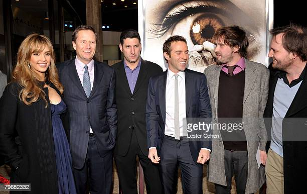 Actress Jessica Alba Michael Burns Nick Myer Actor Alessandro Nivola Directors David Moreau and Xavier Palud attend the premiere of The Eye at the...