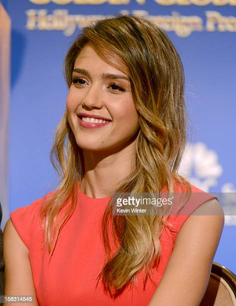 Actress Jessica Alba poses during the 70th Annual Golden Globes Awards Nominations at the Beverly Hilton Hotel on December 13 2012 in Los Angeles...