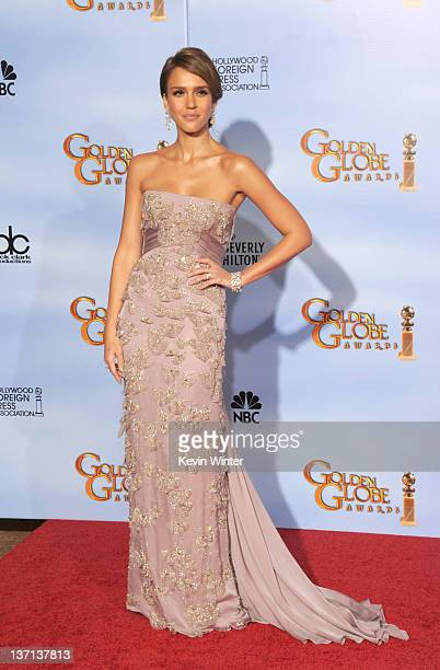 Actress Jessica Alba poses in the press room at the 69th Annual Golden Globe Awards held at the Beverly Hilton Hotel on January 15 2012 in Beverly...