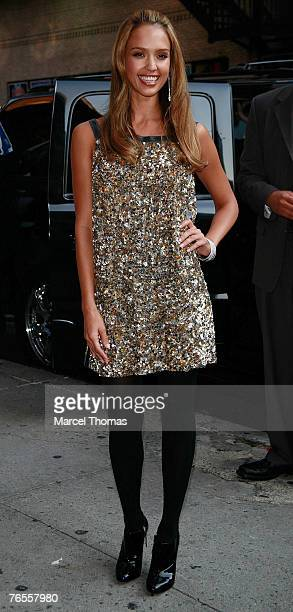 Actress Jessica Alba sighting posing for photographers outside the Ed Sullivan theater where she appeared as a guest on The Late Show With David...