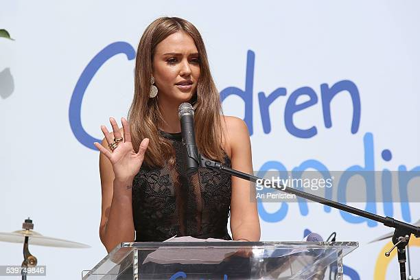 Actress Jessica Alba speaks at Children Mending Hearts and Vintage Grocers Presents the 8th Annual Empathy Rocks on June 12 2016 in Beverly Hills...