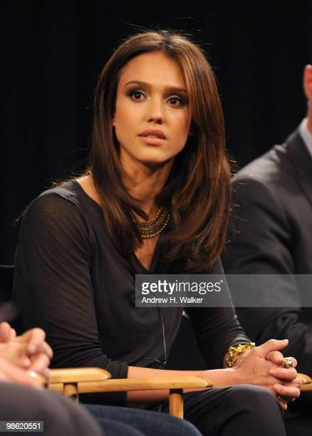 Actress Jessica Alba speaks at the premiere of Climate Of Change during the 2010 Tribeca Film Festival at the School of Visual Arts Theater on April...