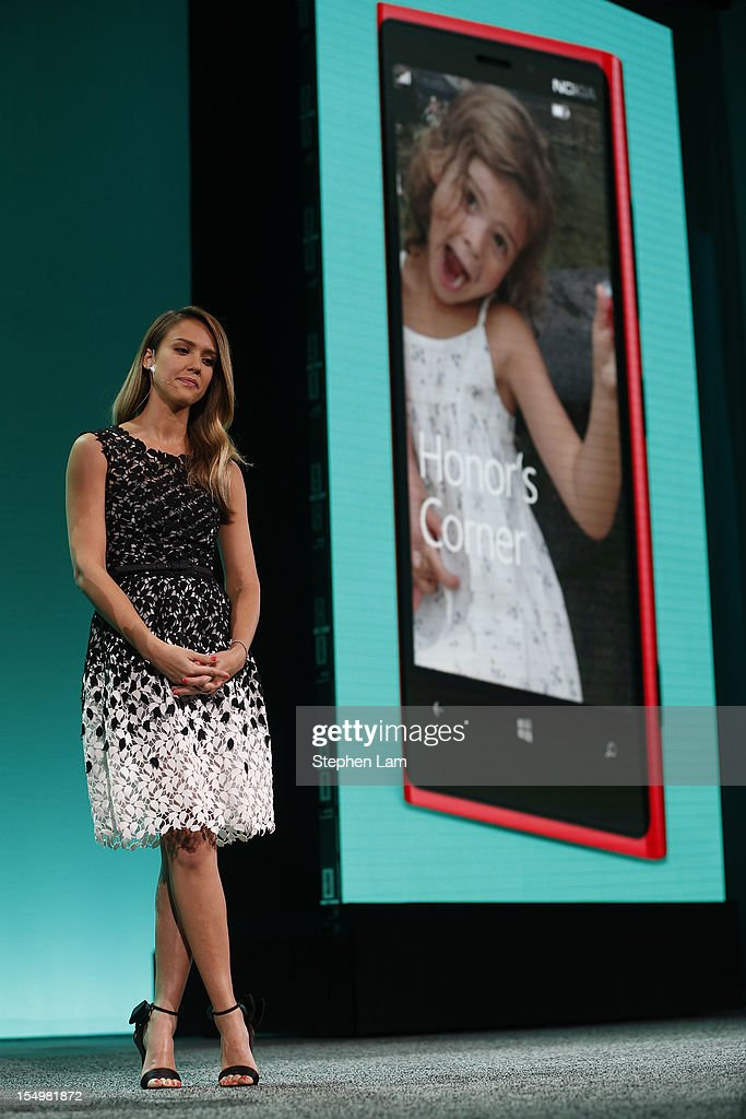 Actress Jessica Alba speaks on stage during the Microsoft Windows Phone 8 event at Bill Graham Civic Auditorium on October 29, 2012 in San Francisco, California. The Windows Phone 8 marks the Seattle-based company's latest update from its two-year-old Windows Phone 7 platform as the company looks to regain its traction in the increasingly dense smartphone segment dominated by rivals Apple and Google.
