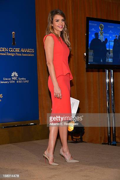 Actress Jessica Alba speaks onstage at the 70th Annual Golden Globe Awards Nominations held at The Beverly Hilton Hotel on December 13 2012 in...
